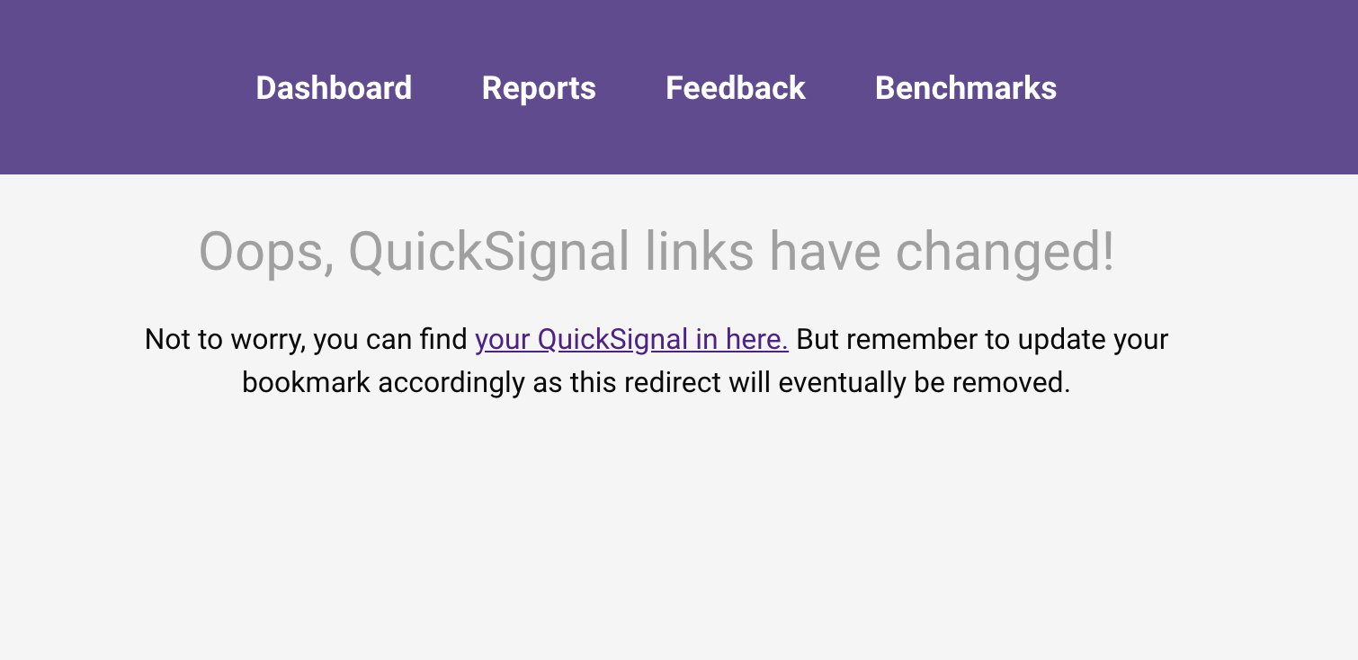 Image containing the error message with a redirect link to your QuickSignal
